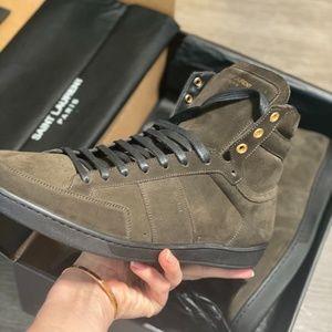 Yves Saint Laurent Men Ysl Suede high top sneakers